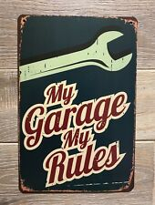 My Garage My Rules!! Classic American Vintage Retro Tin Sign 30x20cm Metal
