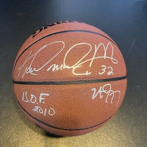 "Karl Malone ""HOF 2010 Utah Jazz"" Signed Inscribed Spalding NBA Basketball PSA"