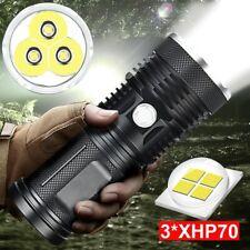 120000 Lumens 3*XHP70 LED Flashlight Torch Waterproof Powerful Lamp Zoom Light