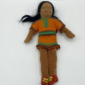 """RARE Vintage Norah Wellings Native American 9"""" Doll Made in England"""