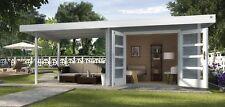 Weka Gartenhaus Design 126 B Gr.3 grau mit Doppeltür und Anbau 590x300 cm