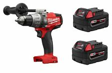 "Milwaukee M18 FUEL 1/2"" Hammer Drill Driver 2704-20 + TWO 48-11-1850 5.0AH BATTS"
