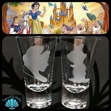 Personalised Pair Of Snow White & Dopey Shot Glasses Hand Engraved Birthday Gift