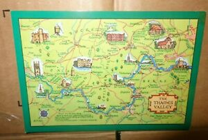 Postcard map of The Thames Valley Berkshire map SALMON UNUSED