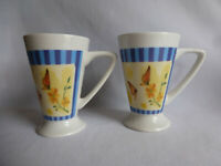 Pair of Royal Norfolk Tall Footed Porcelain Coffee/Tea Mugs