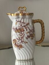 Antique A LANTERNIER Limoges FRANCE Chocolate Hot Water coffeepot GOLD GILT ROPE