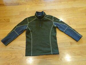 Kuhl Kashmira Boy's 1/4 Zip Size Small S (7-8) Khaki Green/Gray