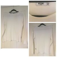 Moschino Mens Long Sleeve White T Shirt Size Medium M Buttons On Sleeve (A352)