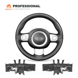PUCarbon Fiber Genuine Leather Car Steering Wheel Cover for Mini Cooper Clubman