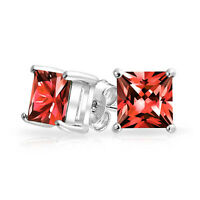 1CT Red Square Princess Cut CZ Stud Earrings 925 Sterling Silver  Simulated Ruby