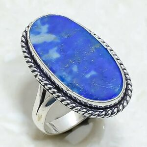 Lapis Lazuli Gemstone Handmade Ethnic Silver Jewelry Ring Size 9 RRJ6903