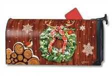 MagnetWorks Cozy Log Cabin Wreath Antlers Snowflakes Magnetic Mailbox Wrap Cover