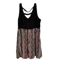 Torrid 3 Womens Plus Size 3X Sun Tank Dress V-neck Black With Geometric Print