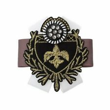 Sexy Sparkles 1 Pc Retro Badge Brooch Shield Black Fleur-de-lis Pattern Cloth Fi