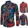 2018 Men Floral Print Dress Shirts Men's Long Sleeve Slim Fit Casual Shirt Tops