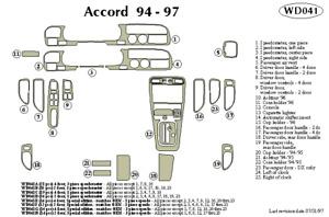 HONDA ACCORD 1994 1995 1996 1997 DASH TRIM KIT e
