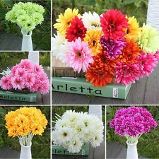 10 Heads Silk Artificial Gerbera Daisy Flowers Bouquet Wedding Party Home Decor