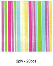 20 MULTI COLOURED 2PLY CANDY STRIPE NAPKINS Party Tableware Serviettes 551884