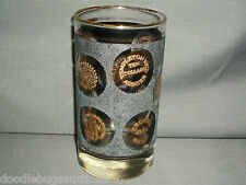 "Vintage Retro Libbey Gold Coin Coins Black Texture Bar Tumbler Highball 5"" Glass"