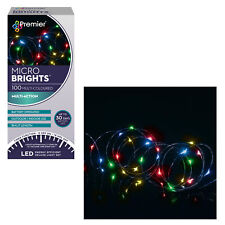 Christmas 100 Micro Brights Battery Timer LED Lights In/Outdoor - Multi Colour