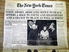 <1969 NEW YORK TIMES  newspaper RICHARD NIXON INAUGURATION  US PRESIDENT Crook