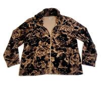 Style & Co. Sport Velour Jacket Floral Print Velvet Brown Women's Jacket Size XL
