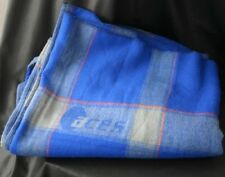 ACES AIRLINES Gray & Blue Plaid In Flight Blanket