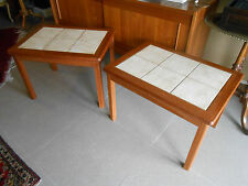 Mid Century Danish Modern Teak & Tile Side Tables/night stands.(2 Available) .