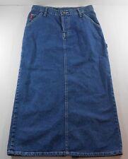 Lei Cotton Denim Blue Jean Skirt Size Junior 7 Long Carpenter Style Button Fly