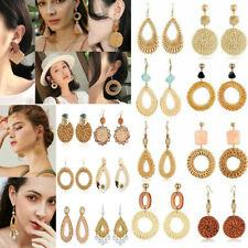 Women Handmade Wood Bamboo Rattan Pearl Shell Pendant Dangle Drop Boho Earrings