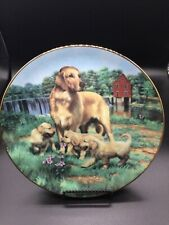 "The Hamilton Collection ""Golden Retrievers"" 8.25 Signed Plate no. 4533E"