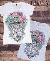 Women's White T-shirt Ganesh Namaste- Om Aum Jade Flame Buddha Meditation TS656