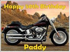 Personalised Harley Davidson motorbike edible icing birthday cake topper A4