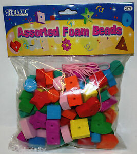 ASSORTED COLOR FOAM BEADS ARTS AND CRAFTS HOBBY