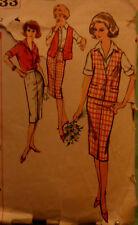 Vtg Early 60s Blouse Pencil Skirt  Vest Pattern Simplicity 2933 Size 12 Bust 32