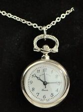 Open Face Chrome Pocket Watches with Chain