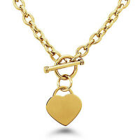 Stainless Steel 14K Gold Plated Heart Charm Toggle Necklace 18"