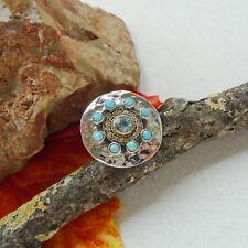 Dichroic vidrio & blautopas, azul, dorados, anillo, Ø 19,0 mm, 925 Sterling plata