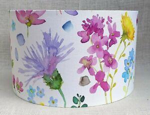 Handmade Bluebellgray TETBURY linen fabric pink floral thistle drum lampshade