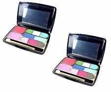 10 Colours Eye Shadow Palette Makeup Travel Pocket Box & Small Brush Pack Of 2