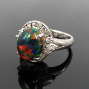Vintage 0.41ct Diamond & 2.14ct Synthetic Black Opal Platinum Ring