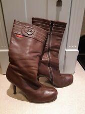 Miss sixty cuero marrón suave 3/4 a continuación la rodilla Botas altas talla 5 (38) Vintage De Alta