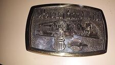 Union Pacific Vintage Brass Belt Buckle Mopac Merger 1984 Good condition for age