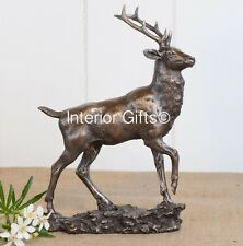 BRONZE STAG SCULPTURE GIFT BOXED Ornament Figurine Buck Reindeer Deer Antlers