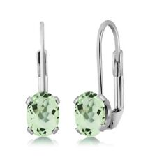 2.00 Ct Oval Green Prasiolite Silver Plated 4-prong Leverback Earrings 7x5mm