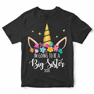 Im Going To Be A Big Sister T Shirt Cute Promoted Unicorn Gift Add your Year