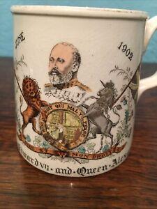 1902 Rare Antique Coronation King Edward Vll & Queen Alexandra Mug Diplock Hove
