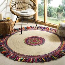 Indian Handmade Round Dhurrie 3 x 3 ft Braided Reversible Floor Rag Rug Jute Mat