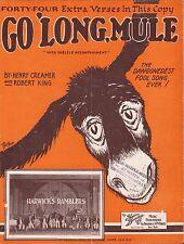 HENRY CREAMER black composer GO 'LONG, MULE jazz song HARWICK'S RAMBLERS 1924