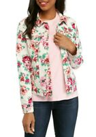 Kim Rogers Womens Denim Jean Jacket NWT Small White Roses Pink Floral Romantic